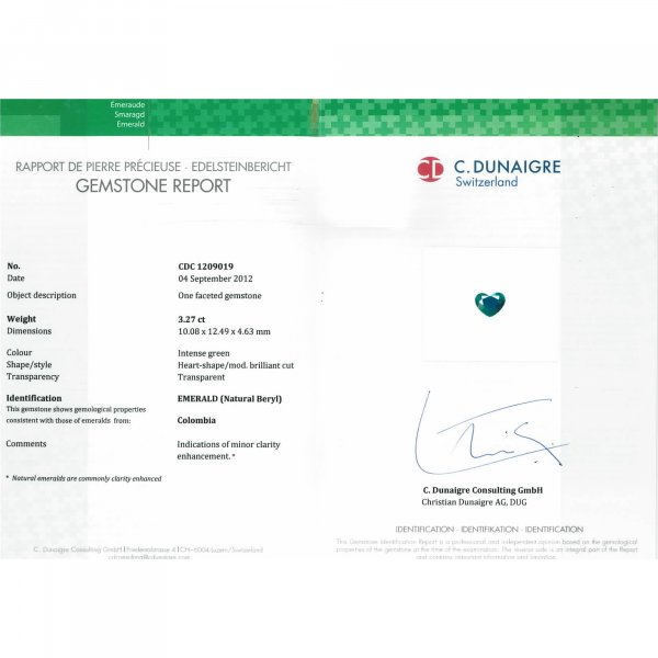 Certified Heart Shaped Emerald Stone CDC1209019