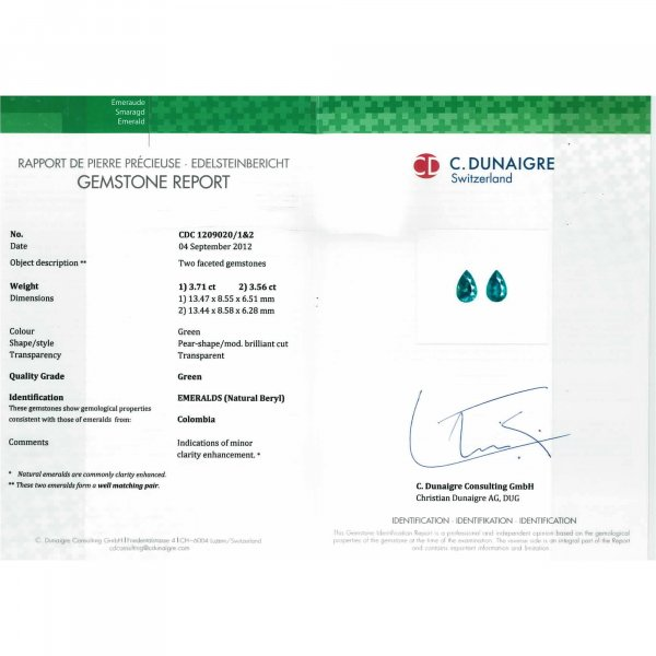 Certified Pear Shaped Emerald Stone CDC1209020/1&2